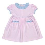 Baby Bliss Pink Tiny Stripes Pima Dress w/Blue Trim