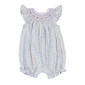 Baby Bliss Lacey Purple Floral Smocked Bishop Bubble
