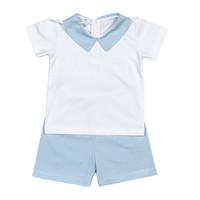 Baby Bliss Tony Blue Tiny Stripes Pima Short Set