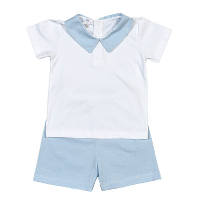 Baby Bliss Tony Blue Tiny Stripes Pima Short Set