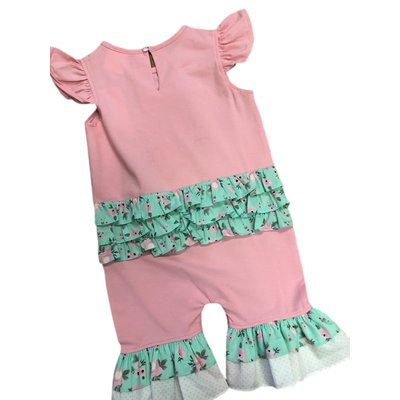 Natalie Grant Bunny Pink Knit Ruffle Romper