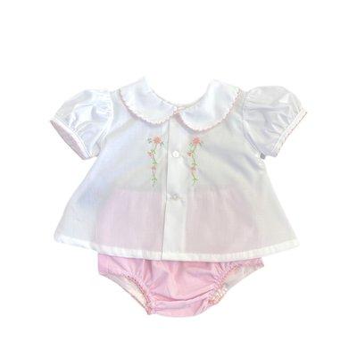 Remember Nguyen White/Pink Avery Girl Diaper Set