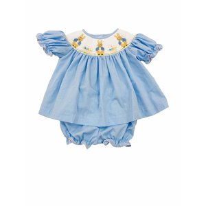Lulu Bebe LLC Blue Bunny Smocked Bloomer Set