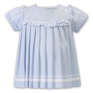 Sarah Louise Blue Pleated Dress with Rosette's