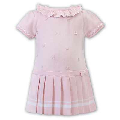 Sarah Louise Pink Pleated Dress with Rosette's