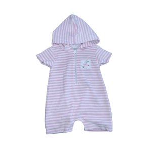 Kissy Kissy Ocean Oasis Pink and White Stripe Terry Romper