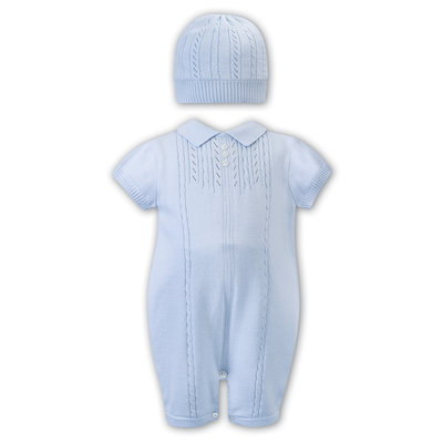 Sarah Louise Blue Romper with Hat