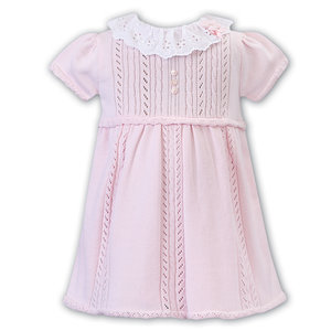 Sarah Louise Pink Dress with White Eyelet Collar