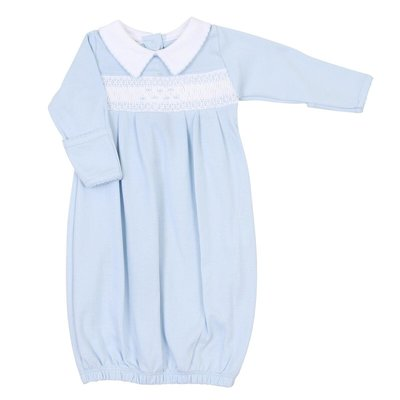 Magnolia Baby Mandy and Mason's Classics Smocked Gown - Lt. Blue