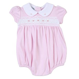 Magnolia Baby Mandy and Mason's Classic Pink Smocked Bubble