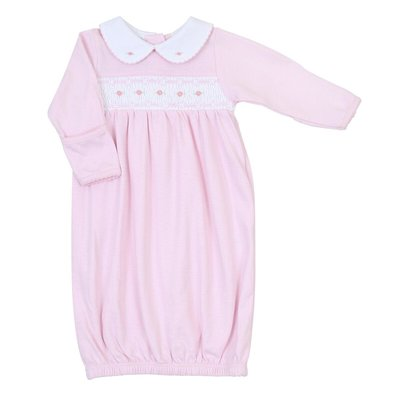 Magnolia Baby Mandy and Mason' Classic Smocked Gown - Pink