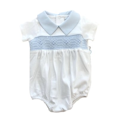 Baby Bliss Ted White/Blue Hand Smocked Pima Bubble
