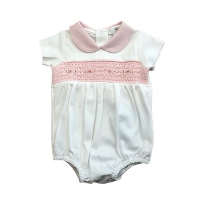 Baby Bliss Kiara White w/Pink Smocked Pima Bubble
