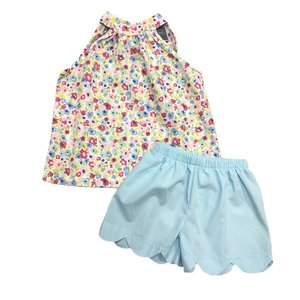 Honesty Clothing Company Aqua Floral Tie Neck Short Set
