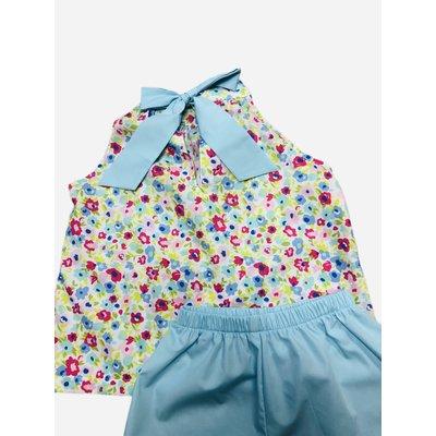Honesty Clothing Company Aqua Floral Tie Neck Short Set