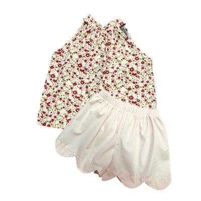 Honesty Clothing Company Pink Floral Tie Neck Short Set