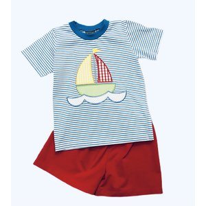 Honesty Clothing Company Sailboat Applique Boy's Short Set