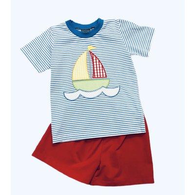 Honesty Clothing Company Sailboat Applique Boy's Short Set