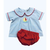 Honesty Clothing Company Sailboat Applique Boy's Bloomer Set