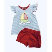 Honesty Clothing Company Sailboat Applique Girl's Short Set