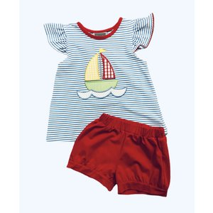Honesty Clothing Company Sailboat Applique Girl's Short Set