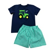 Honesty Clothing Company Navy Tractor Applique Short Set