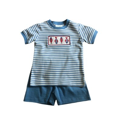 Zuccini Fish Smocked Short Set