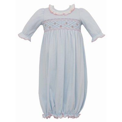 Petit Bebe Lt. Blue Knit Sac w/ Pink Smocking