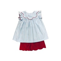 True Blue Gingham/Red Bow Back Scallop Short Set