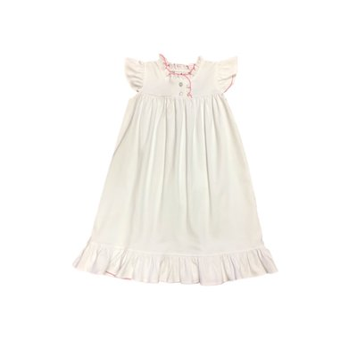 True White/Pink Picot Morning Dress