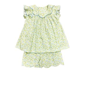 True Yellow Floral Bow Back Scallop Short Set