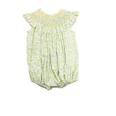 True Yellow Floral Smocked Geometric Bishop Bubble