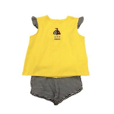 Squiggles Girls Crochet Sailboat Yellow Butterfly Sleeve Short Set