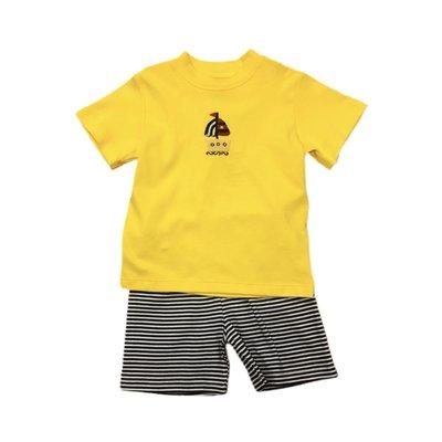Squiggles Boy Crochet Sailboat Yellow Shirt & Shorts Set