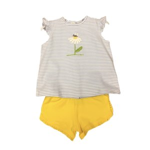 Squiggles Daisy & Bee Butterfly Sleeve Short Set