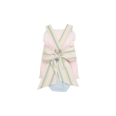 Beaufort Bonnet Company Sisi Sunsuit - Broadcloth Palm Beach Pink/Buckhead Blue