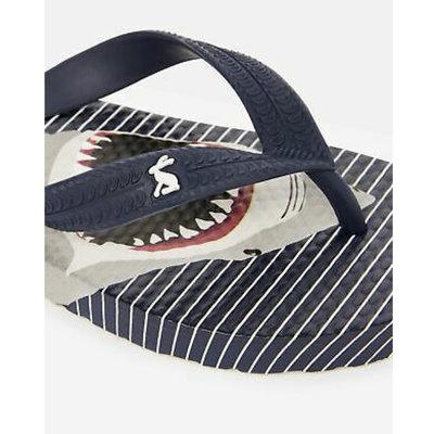 Blue Stripe Shark and Diver Flip Flops