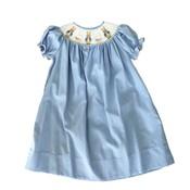 Lulu Bebe LLC Blue Bunny Smocked Short Sleeve Bishop