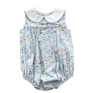 True Blue Floral Pleated Bubble