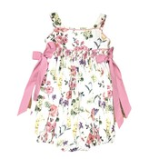 Lulu Bebe LLC Smocked Waist Flower Bubble with Pink Bows