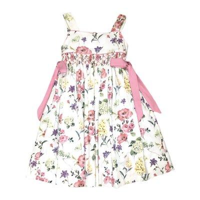 Lulu Bebe LLC Smocked Waist Flower Dress with Pink Bows