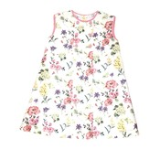 Lulu Bebe LLC Flower Printe Sleeveless Dress with Pink Trim
