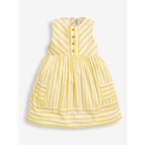 JoJo Maman Bebe Lemon Stripe Sleeveless Shirt Dress