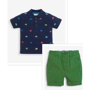 JoJo Maman Bebe Turtle Embroidered Polo Shirt with Green Shorts