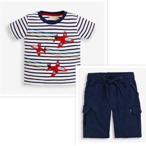 JoJo Maman Bebe Red Arrows Applique Stripe Shirt & Shorts Set