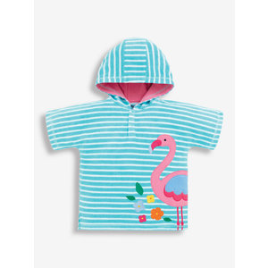 JoJo Maman Bebe Turquoise Stripe Flamingo Hooded Towel Poncho