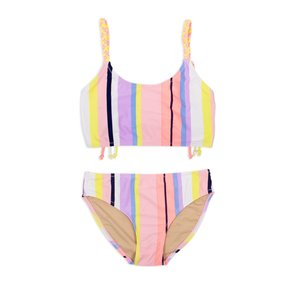 Shade Critters Coral Stripe Braided Strap Bikini