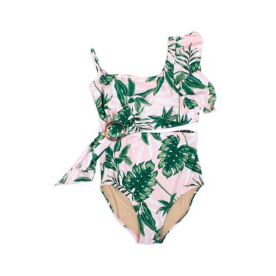 Shade Critters Pink Palm Draped 1 Shoulder Swimsuit