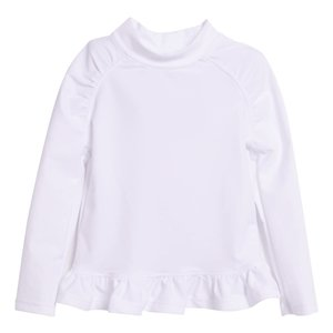 Flap Happy White UPF 50 Ruffle Rash Guard