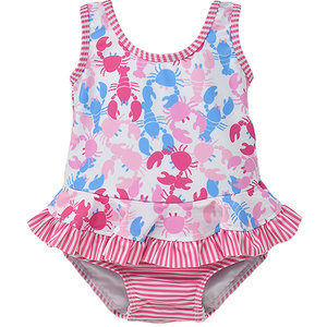 Flap Happy Pink Lobsters UPF 50 Infant Ruffle Swimsuit